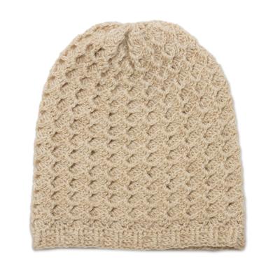 Hand-Crocheted Wave Pattern Alpaca Blend Hat in Vanilla