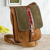 Leather accented suede messenger bag, 'Stylish Adventure in Olive' - Sepia and Olive Leather Accented Suede Messenger Bag