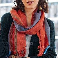 100% alpaca scarf, 'Sky Flame' - Scarlet and Multi-Color Stripe Handwoven 100% Alpaca Scarf