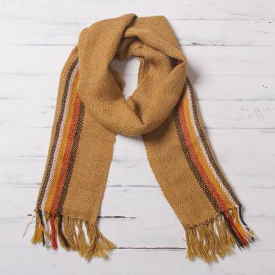 100% alpaca scarf, 'Harvest Warmth' - Harvest Gold and Colorful Stripe Handwoven 100% Alpaca Scarf