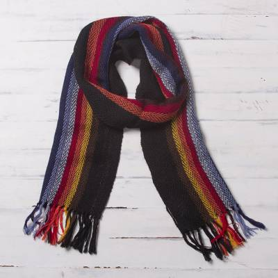 100% alpaca scarf, 'Mountain Evening' - Black with Colorful Stripes Handwoven 100% Alpaca Scarf