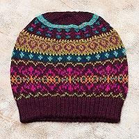 100% alpaca knit hat, 'Colorful Carousel' - Multi-Color 100% Alpaca Knit Hat with Rows of Varying Motifs