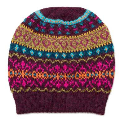 Multi-Color 100% Alpaca Knit Hat with Rows of Varying Motifs
