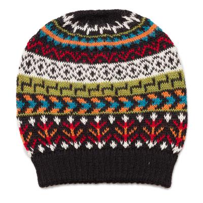 Multi-Color 100% Alpaca Knit Hat with Geometric Motifs