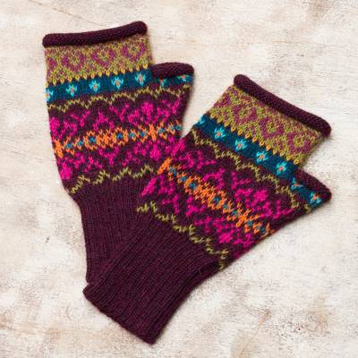 100% alpaca fingerless mitts, 'Colorful Carousel' - Multi-Color Multi-Motif 100% Alpaca Knit Fingerless Mitts