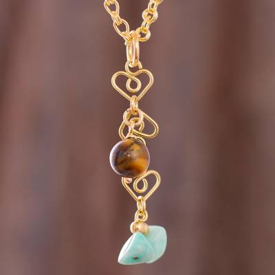 Gold plated amazonite and tiger's eye pendant necklace, 'Magic Stones' - Gold Plated Amazonite and Tiger's Eye Pendant Necklace