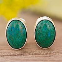 Chrysocolla clip-on earrings, 'Lovely Ovals'