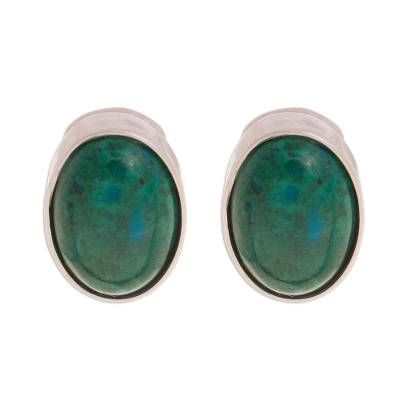 Oval Chrysocolla Clip-On Earrings from Peru