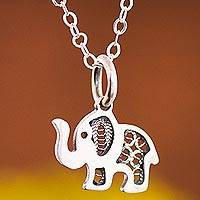 Sterling silver filigree pendant necklace, 'Fancy Elephant' - Sterling Silver Elephant with Filigree Pendant Necklace