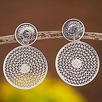 Sterling silver filigree dangle earrings, 'Seeing Double' - Double Circle with Filigree Sterling Silver Dangle Earrings