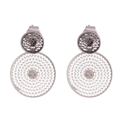 Sterling silver filigree dangle earrings, 'Seeing Double' - Double Circle with Filigree Sterling Silver Dangle Earrings