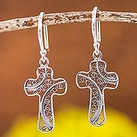 Sterling silver filigree dangle earrings, 'Fancy Cross' - Cross Motif with Filigree Sterling Silver Dangle Earrings