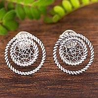 Sterling silver filigree button earrings, 'Sensational Circles' - Rope Motif and Filigree Sterling Silver Button Earrings
