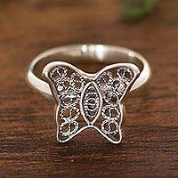 Sterling silver filigree cocktail ring, 'Fancy Butterfly' - Butterfly Motif Filigree Sterling Silver Cocktail Ring