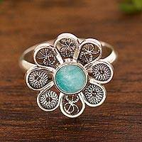 Amazonite cocktail ring, 'Aqua Daisy' - Amazonite and Sterling Silver Filigree Flower Cocktail Ring