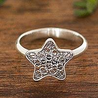 Sterling silver filigree cocktail ring, 'Fancy Star' - Star Motif Filigree Sterling Silver Cocktail Ring from Peru