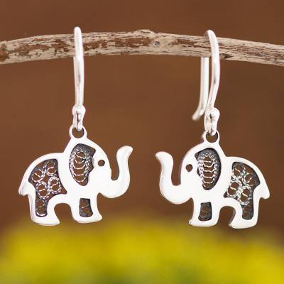 Sterling silver filigree dangle earrings, 'Fancy Elephant' - Sterling Silver Elephant with Filigree Dangle Earrings