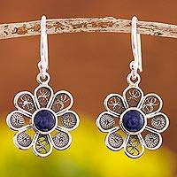 Sodalite filigree dangle earrings, 'Blue Daisy' - Sodalite and Sterling Silver Filigree Flower Dangle Earrings