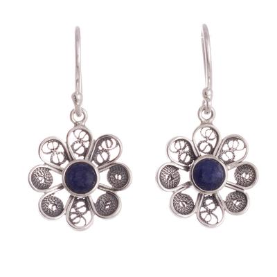 Sodalite filigree dangle earrings, 'Blue Daisy' - Sodalite and Sterling Silver Filigree Flower Dangle Earrings