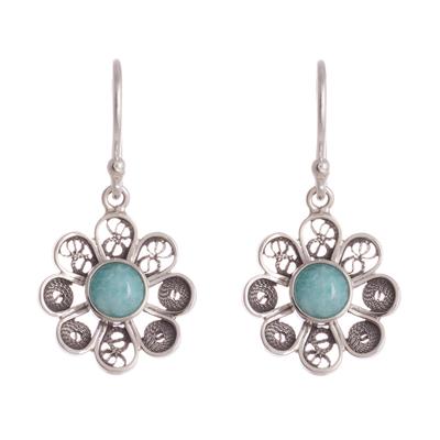 Amazonite Sterling Silver Filigree Flower Dangle Earrings