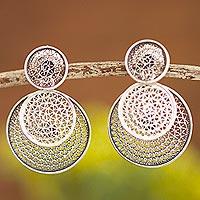 Sterling silver filigree dangle earrings, 'Circle Celebration'