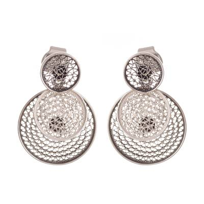 Sterling silver filigree dangle earrings, 'Circle Celebration' - Triple Circle with Filigree Sterling Silver Dangle Earrings
