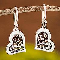 Sterling silver filigree dangle earrings, 'Fancy Hearts'