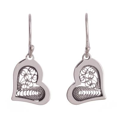 Sterling silver filigree dangle earrings, 'Fancy Hearts' - Heart Motif with Filigree Sterling Silver Dangle Earrings