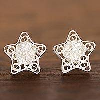 Sterling silver filigree stud earrings, 'Classical Stars'
