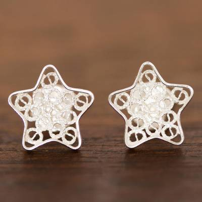 Sterling silver filigree stud earrings, 'Classical Stars' - Sterling Silver Filigree Star Stud Earrings from Peru
