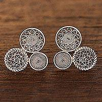Sterling silver filigree drop earrings, 'Colonial Circles'