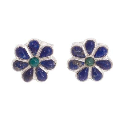 Floral Lapis Lazuli and Chrysocolla Stud Earrings from Peru