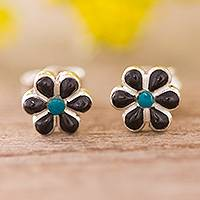 Onyx and chrysocolla stud earrings, 'Children of Nature' (0.3 inch) - Floral Onyx and Chrysocolla Stud Earrings (0.3 Inch)