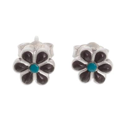 Floral Onyx and Chrysocolla Stud Earrings (0.3 Inch)