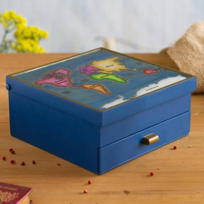 Reverse-painted glass and wood jewelry box, 'Worldly Goods' - Blue Wood and Reverse-Painted Glass World Map Jewelry Box