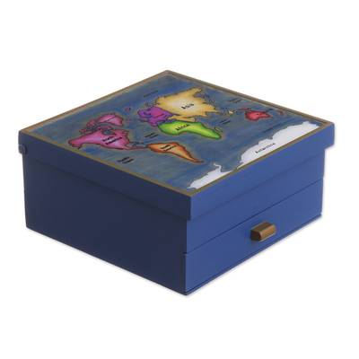 Blue Wood and Reverse-Painted Glass World Map Jewelry Box
