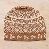 Alpaca blend knit hat, 'Alpaca Parade in Cinnamon' - Cinnamon Brown and Ivory Diamond Motif Alpaca Blend Knit Hat
