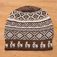 Alpaca blend knit hat, 'Alpaca Parade in Brown' - Chestnut Brown and Ivory Diamond Motif Alpaca Blend Knit Hat
