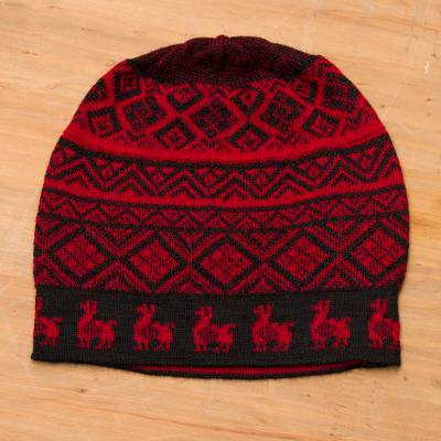Alpaca blend knit hat, 'Alpaca Parade in Red' - Black and Crimson Red Diamond Motif Alpaca Blend Knit Hat