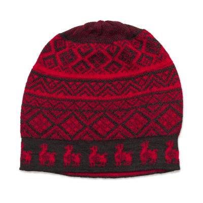 Black and Crimson Red Diamond Motif Alpaca Blend Knit Hat