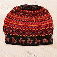 Alpaca blend knit hat, 'Alpaca Sunset' - Black Red and Orange Diamond Motif Alpaca Blend Knit Hat