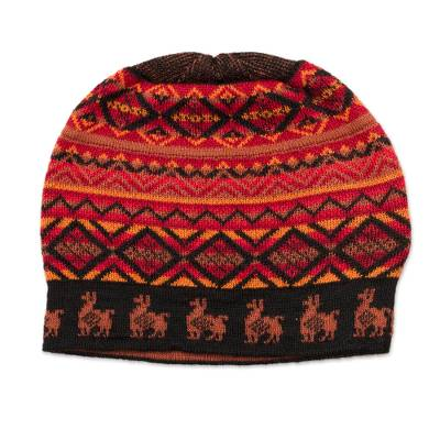 Black Red and Orange Diamond Motif Alpaca Blend Knit Hat