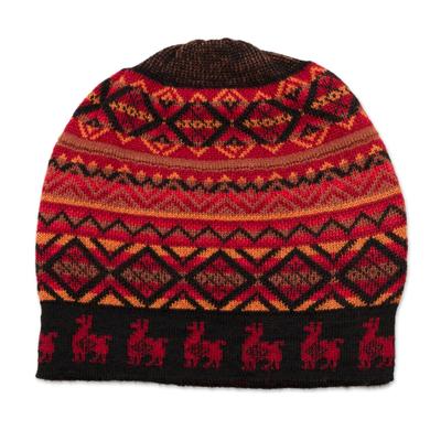 Red and Orange on Black Diamond Motif Alpaca Blend Knit Hat