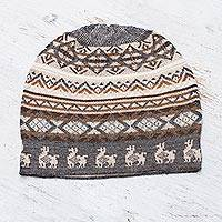Alpaca blend knit hat, 'Alpaca Mountain' - Off-White Brown and Grey Diamond Motif Alpaca Blend Knit Hat