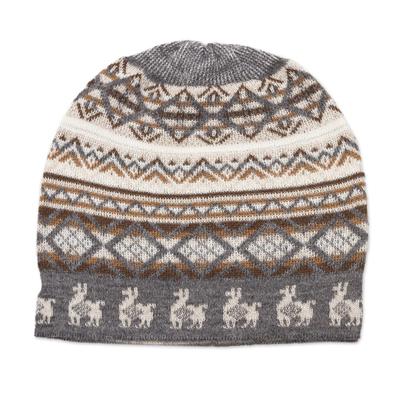 Off-White Brown and Grey Diamond Motif Alpaca Blend Knit Hat