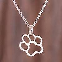 Sterling silver pendant necklace, 'Doggy Print' - Sterling Silver Paw Print Pendant Necklace from Peru