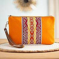 Faux suede accented clutch, 'Vibrant Empire' - Tangerine and Multicolor Faux Suede Accented Clutch
