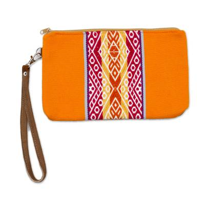 Tangerine and Multicolor Faux Suede Accented Clutch