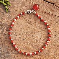 Carnelian beaded bracelet, 'Magical Gleam' - Carnelian Beaded Bracelet Crafted in Peru