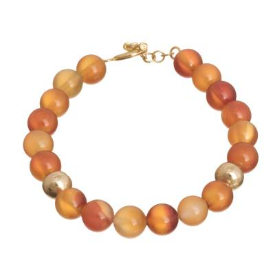Gold accented agate beaded bracelet, 'Vibrant Sun' - Gold Accented Agate Beaded Bracelet from Peru